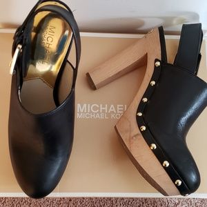 Michael Kors Beatrice Leather Sling Back Clogs